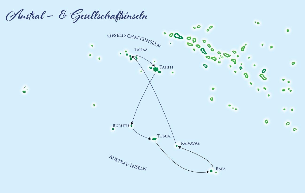 Karte - Austral Islands & Gesellschaftsinseln