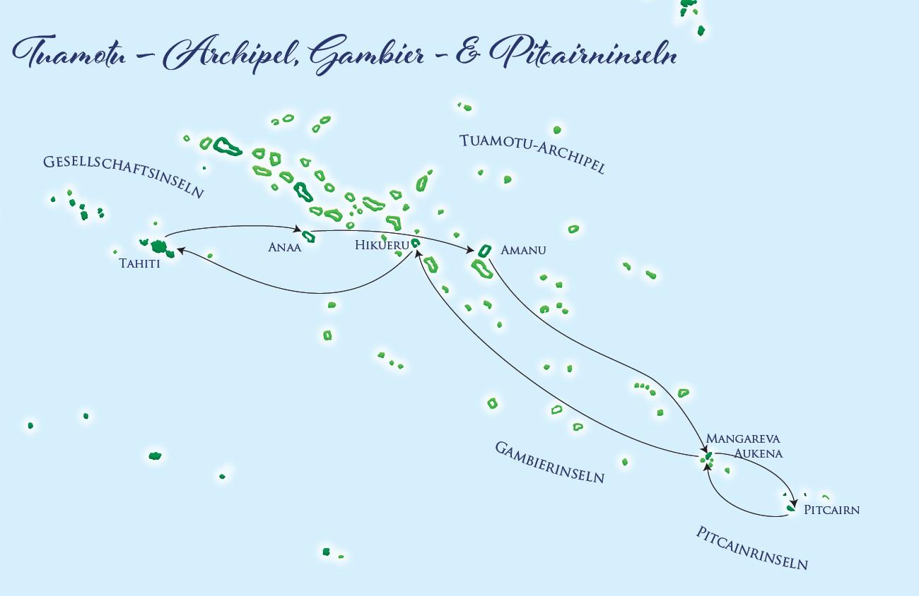 Karte - Pitcairn & Gambier Islands