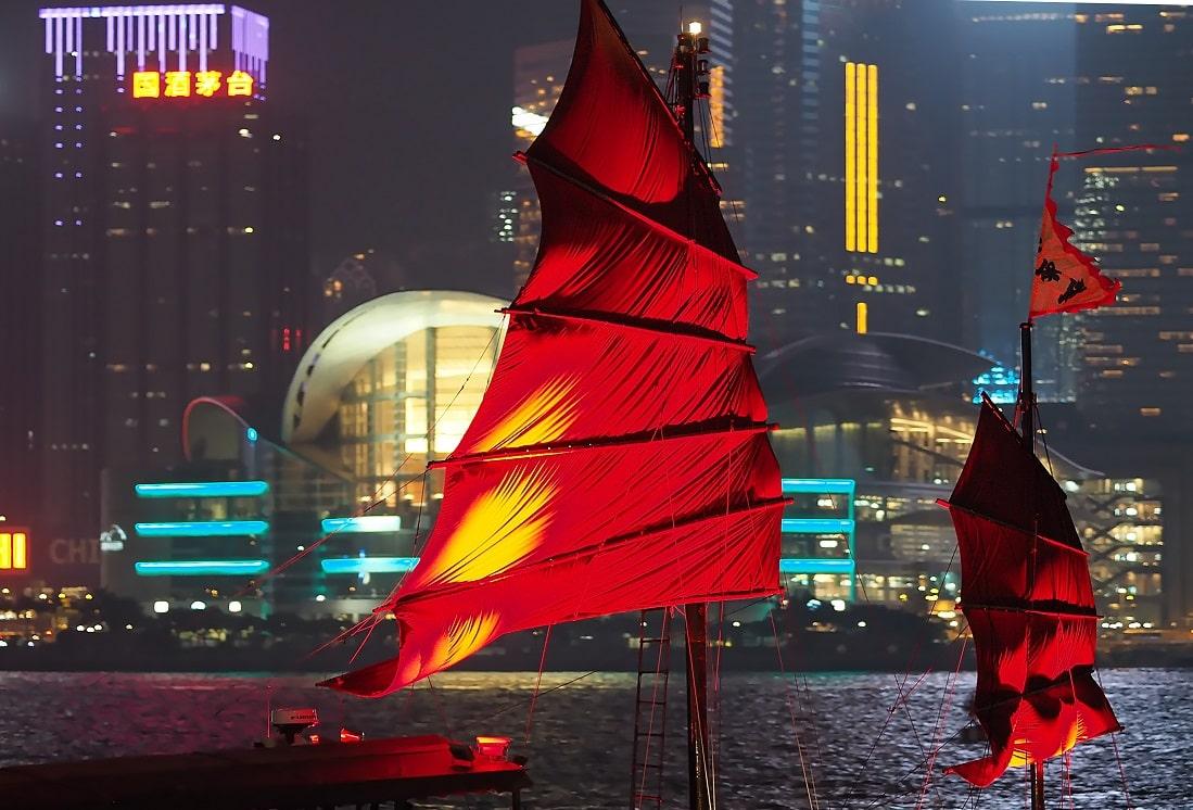 Segelboot, Victoria Harbour, Hongkong