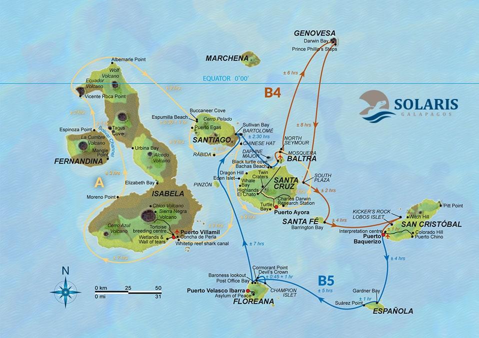 Solaris, Karte Route AB