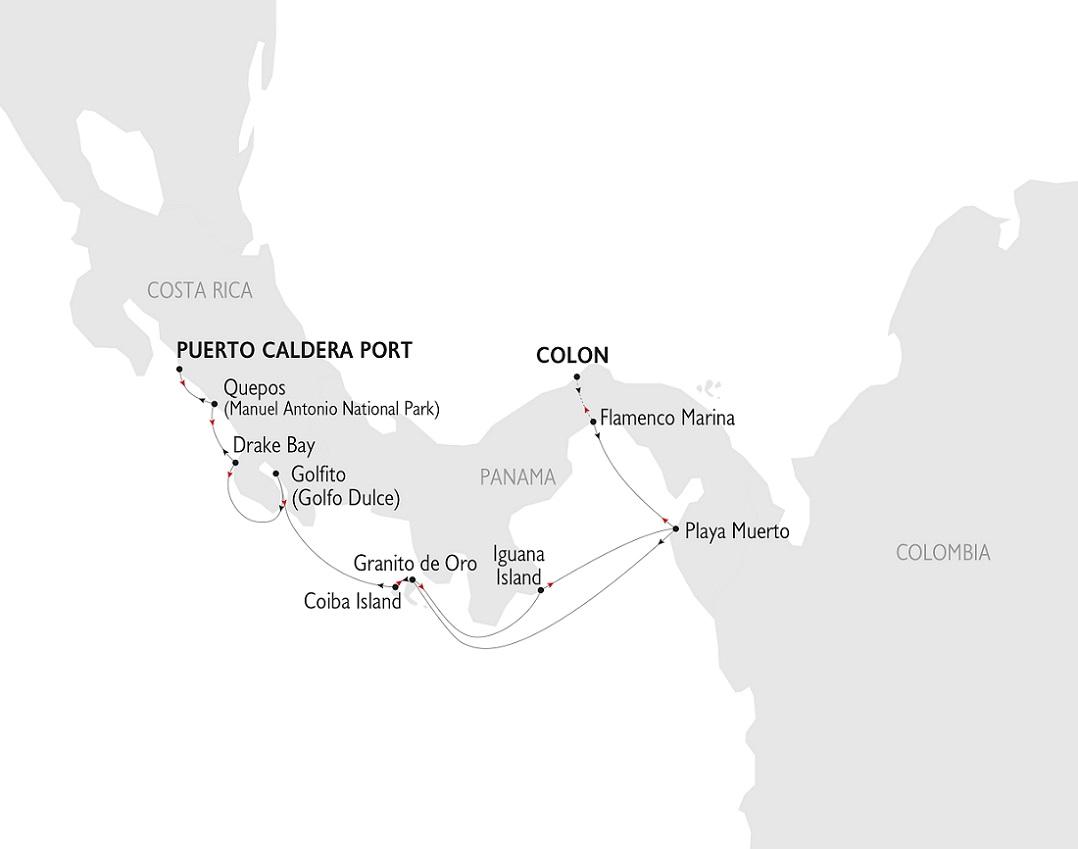 Karte, Costa Rica & Panama, Variety Cruises